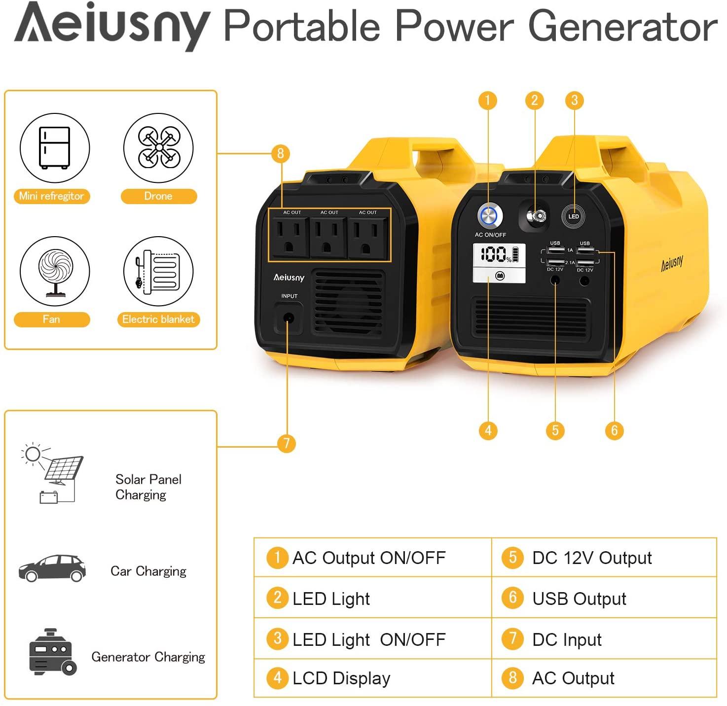 400W Aeiusny Portable Power Station